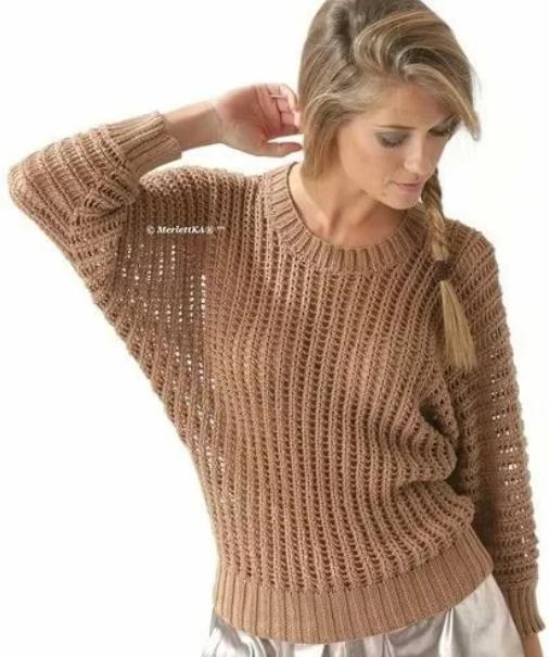 летний пуловер фантазийным узором