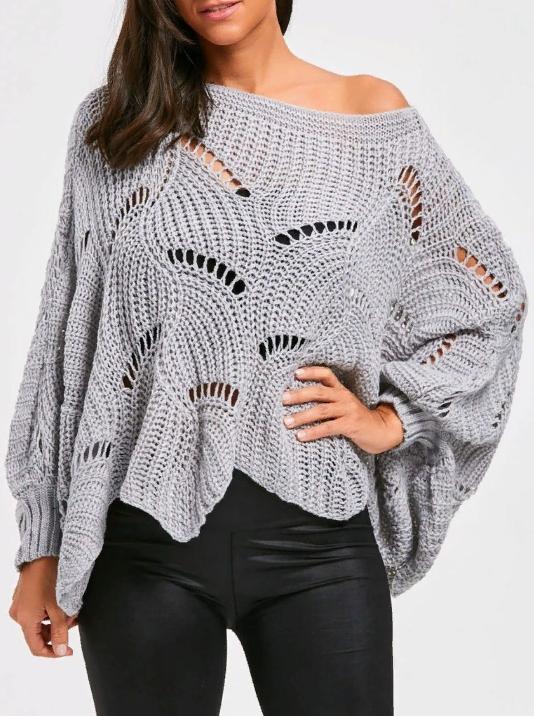 Вязание пуловера пончо ажурным узором
