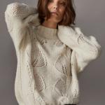 Вязаный свитер с листьями от Massimo Dutti