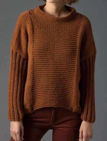 Простой пуловер спицами изнаночной гладью
