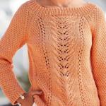 летний женский свитер спицами реглан схема