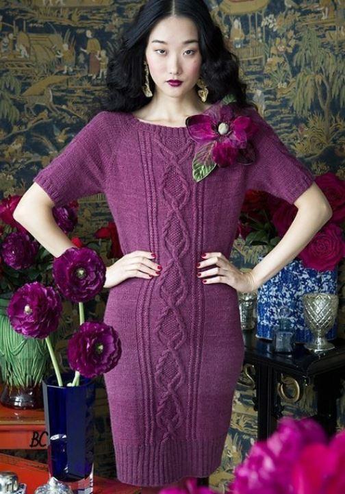 вязание платья спицами